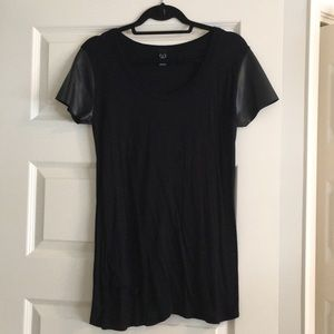 Windsor black tee shirt with leather sleeves